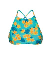 Bikini crop top cross-over backfloral design - SOUTIEN LEI SPORTY