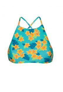 Bikini crop top cross-over back floral design - SOUTIEN LEI SPORTY