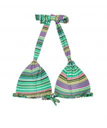 Striped scarf-effect triangle bikini top with padded cups - SOUTIEN LISTRADINHO