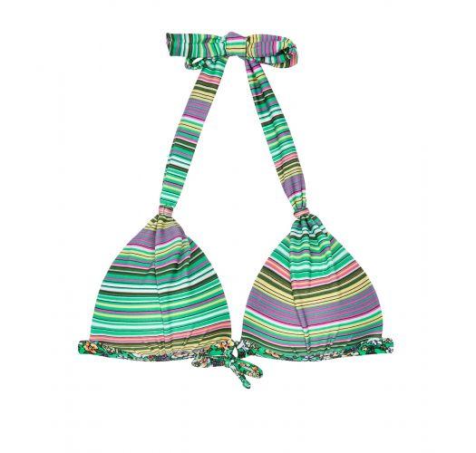 Çizgili kabukluüçgen eşarp bikini üstü - SOUTIEN LISTRADINHO