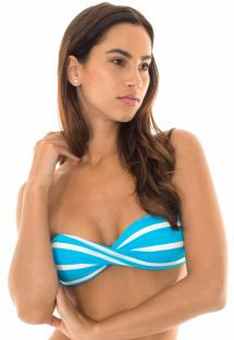 Two-tone twisted bandeau bikini top with rigid cups - SOUTIEN LISTRAS BRANCOAZUL
