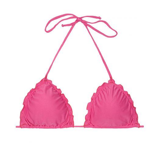 Pink triangle bikini top with ruffle trim - SOUTIEN LULI PINK