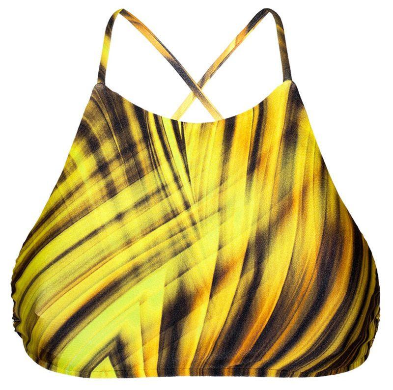 Yellow graphic print cross back crop top style bathing suit - SOUTIEN LUXOR CROPPED