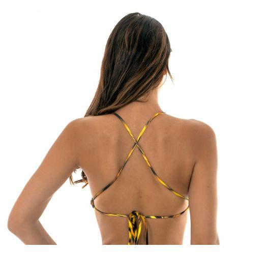 Купальный кроп-топ с перекрещивающимися на спине бретелямив желтый графический принт - SOUTIEN LUXOR CROPPED