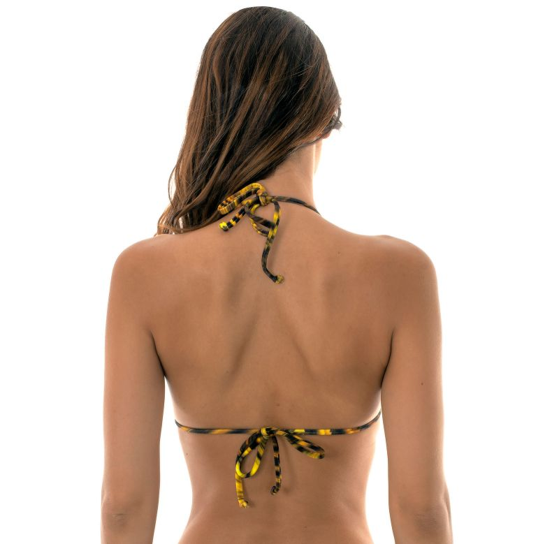 Yellow graphic print, triangle top with scalloped edges  - SOUTIEN LUXOR FRU FRU