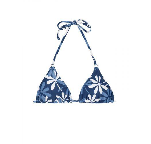 top triangular azul branco com flores   soutien maresia cheeky