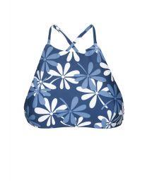 Bikini crop top blue/white flowers - SOUTIEN MARESIA SPORTY