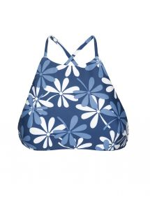 Bikini crop top blue/white flowers - SOUTIEN MARESIA SPORTY