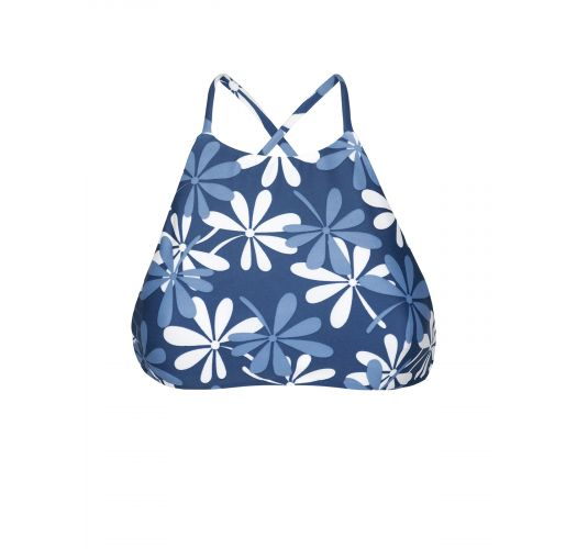 Haut de bikini crop top bleu/blanc à fleurs - SOUTIEN MARESIA SPORTY