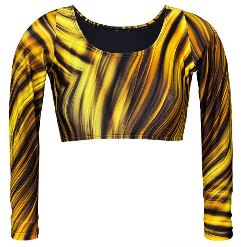 Yellow graphic print long sleeve cop top - SOUTIEN MLONGA LUXOR