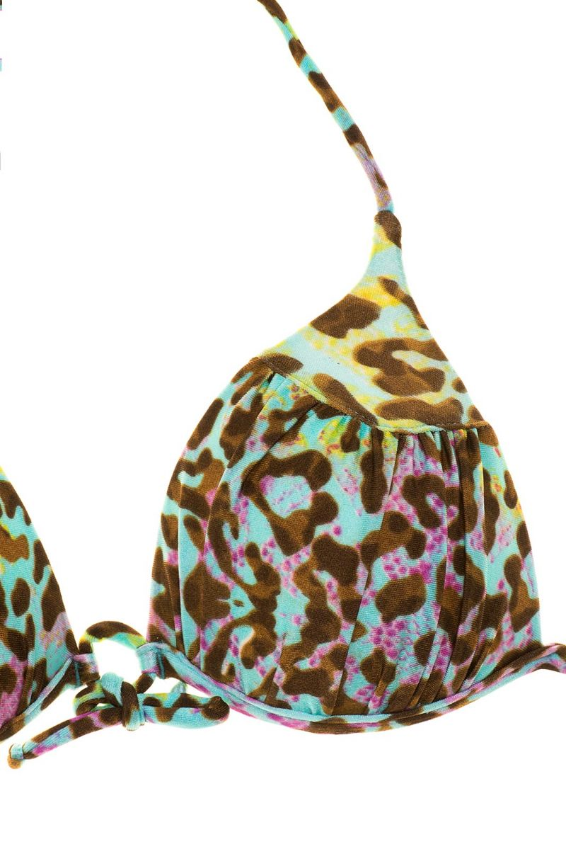Colourful leopard-print padded triangle top - SOUTIEN MORUMBI
