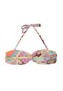 Parte superior de bikini bandeau con relleno rígido y estampado tipo fular - SOUTIEN MUNDOMIX BANDEAU