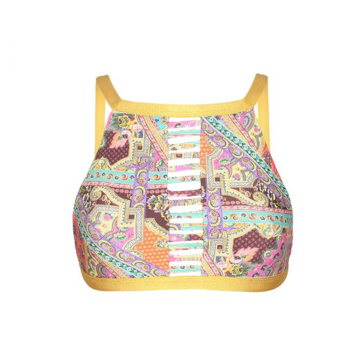 Printed bikini top with wide neck - SOUTIEN MUNDOMIX CROPPED