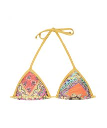 Scarf print triangle bikini top, gold-coloured ties - SOUTIEN MUNDOMIX LACINHO