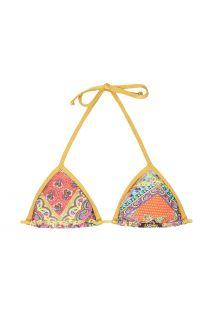 Parte superior de bikini con forma triangular, estampado tipo fular y tiras doradas - SOUTIEN MUNDOMIX LACINHO