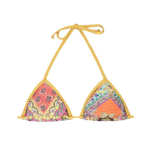 Scarf print triangle bikini top, gold-coloured ties - SOUTIEN MUNDOMIX LACINHO
