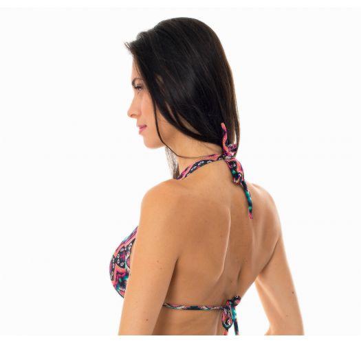 Pink ethnic non-adjustable push-up top - SOUTIEN NEW ETHNIC BORBOLETA