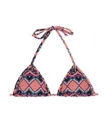 Pink ethnic sliding triangle bikini top - SOUTIEN NEW ETHNIC MICRO