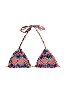 Pink ethnic sliding triangle bikini top - SOUTIEN NEW ETHNIC MICRO