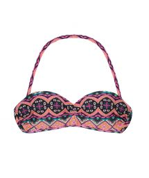 Padded bandeau bikini top in a pink ethnic print - SOUTIEN NEW ETHNIC TOMARA QUE CAIA