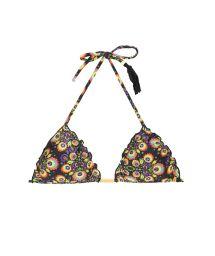 Floral/black triangle top with wavyedging - SOUTIEN NEWFOLK FRUFRU