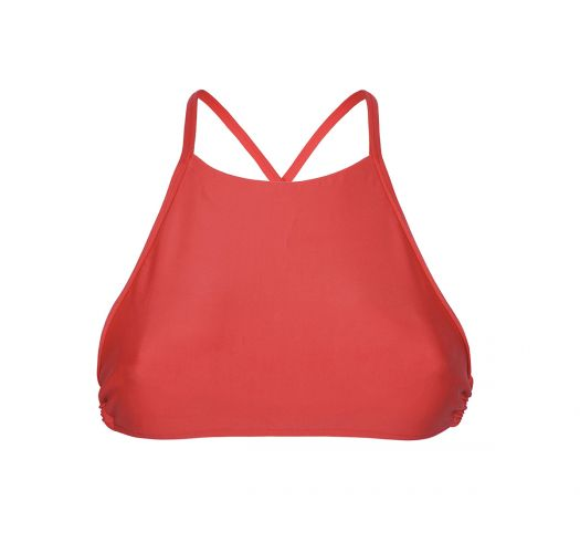 Red crop-top swimsuit top with cross-over straps - SOUTIEN NOITI RED
