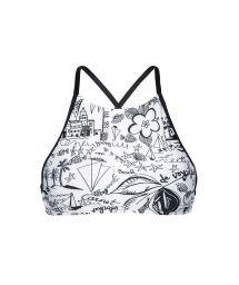 Crop bikini top featuring a black and white print - SOUTIEN PALMEIRA BEACH