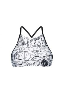Zwart wit gedrukte halter bikinitop - SOUTIEN PALMEIRA BEACH