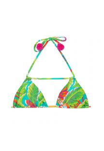 Green tropical-print triangle bikini top with pink tassels - SOUTIEN PARADISE GREEN DETAIL