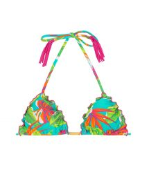 Tropical-print bikini top with pink tassels - SOUTIEN PARADISE GREEN FRUFRU