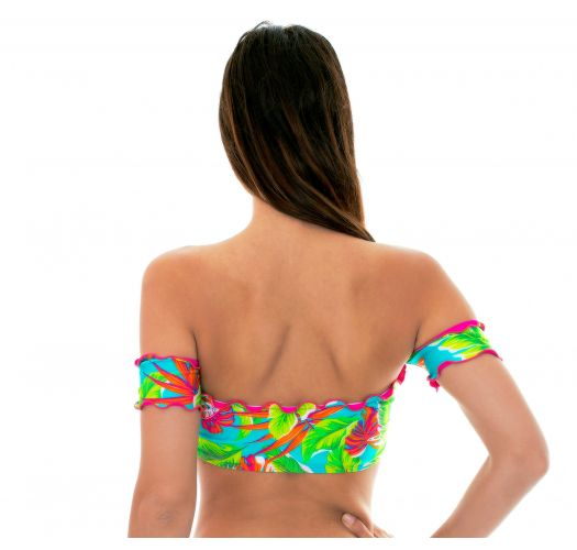 Tropical-print green crop-top bikini with sleeves - SOUTIEN PARADISE GREEN OFF SHOULDER