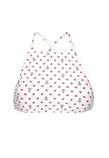 White crop top with hearts and anchors - SOUTIEN PERNAMBUCO SPORTY