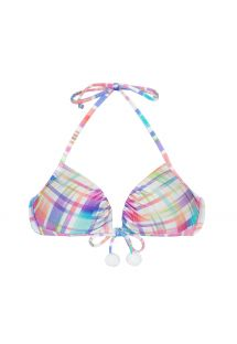 Pastel check-print push-up bikini top with tassels - SOUTIEN PLAID BORBOLETA