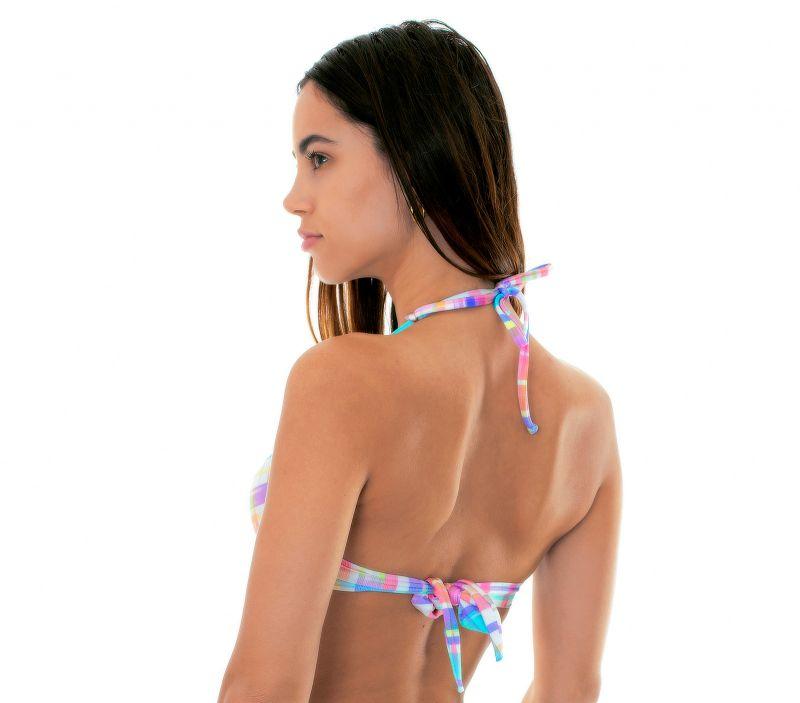 Pastel check-printpush-up bikini topwith tassels - SOUTIEN PLAID BORBOLETA