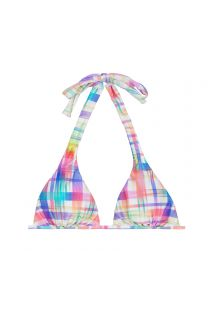 Pastel check-print scarf triangle bikini top - SOUTIEN PLAID CORTINAO