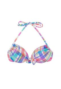 Pastel check print push-up bikini top - SOUTIEN PLAID TIE