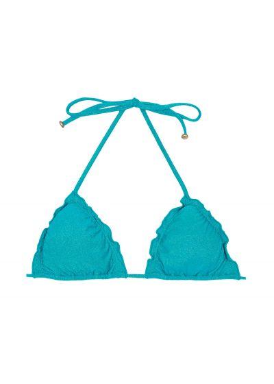 Blue lurex triangle bikini top with scallop trim - SOUTIEN RADIANTE AZUL FRUFRU