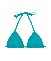 Sliding triangle bikini top in shiny blue lurex - SOUTIEN RADIANTE AZUL TRI
