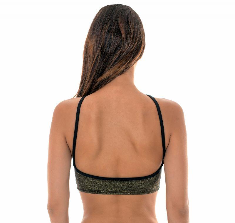 High cut black lurex crop top style bathing suit top - SOUTIEN RADIANTE CROPPED STRAPPY