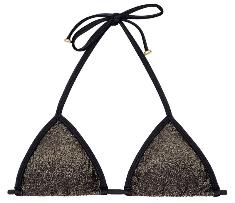 Lurex sliding triangle bikini top with black ties - SOUTIEN RADIANTE PRETO TRI
