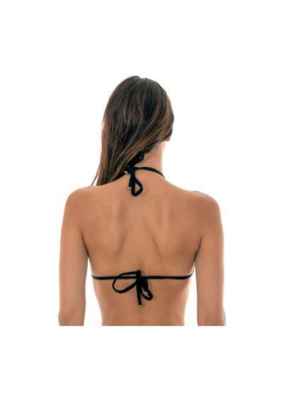 Lurex sliding triangle bikini top with black ties - SOUTIEN RADIANTE PRETO TRI