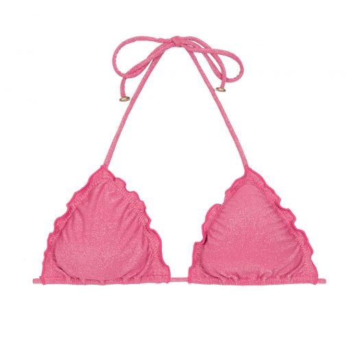 Pink lurex triangle bikini top with scallop trim - SOUTIEN RADIANTE ROSA FRUFRU