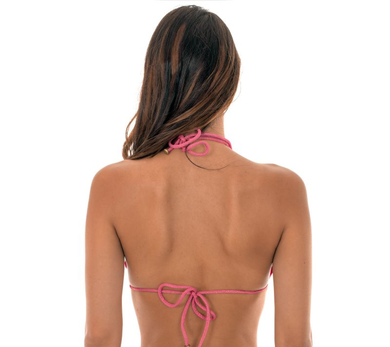 Pink lurex triangle bikini top with scallop trim - SOUTIEN RADIANTE ROSA FRUFRU
