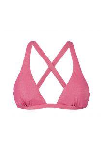 Pembe lüreks sabit eşarp üçgen bikini üstü - SOUTIEN RADIANTE ROSA SPORTY MINI