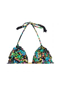 Black triangle top with multicoloured flowers - SOUTIEN REALITY FLOWER FRUFRU