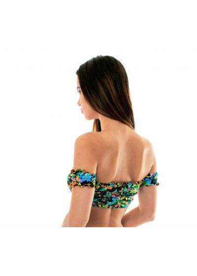 Black floral crop-top bikini top with sleeves - SOUTIEN REALITY FLOWER OFF SOULDER