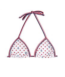 White triangle top, hearts and anchors - SOUTIEN ROMANCE