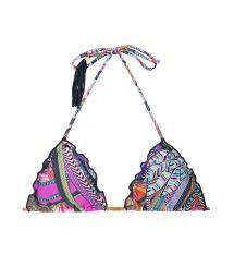Printed triangle bikini top with tassels - SOUTIEN SAMARCANDA FRUFRU