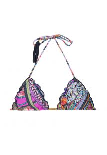 Printed triangle bikini top with tassels - SOUTIEN SAMARCANDA FRUFRU