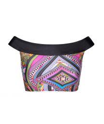 Multicoloured top with black Bardot collar - SOUTIEN SAMARCANDA OFFSHOULDER